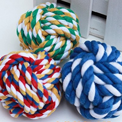 Case-Square-TM-Dog-Chew-Toy-Hundespielzeug-Puppy-Chewing-Toy-Cotton-Knotted-Ball-Random-Color-0