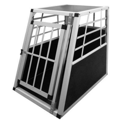 Alu-Hundetransportbox-Transportbox-Auto-75x55x69cm-Hundebox-in-Silber-Autohundebox-0